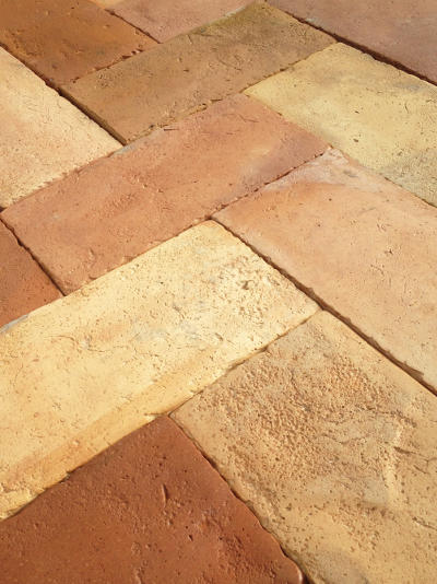 Reclaimed Antique French Terra Cotta Floor Tiles for sale USA